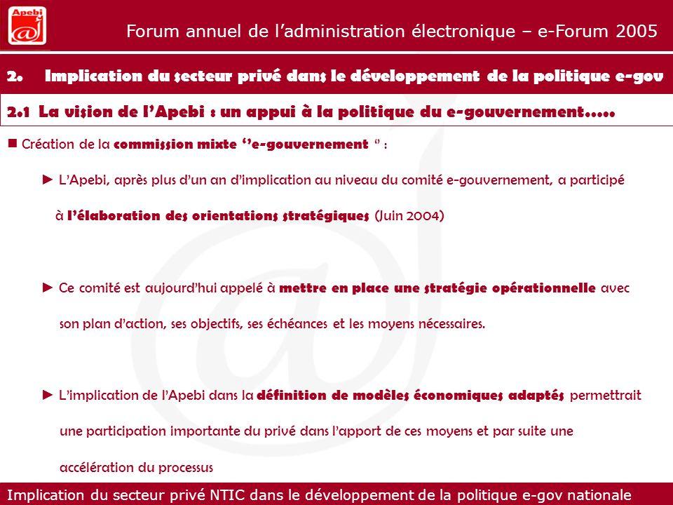 Implication du secteur privé NTIC dans le développement de la politique e-gov nationale Forum annuel de ladministration électronique – e-Forum 2005 Les enseignements à ce jour 6.Les enseignements à ce jour