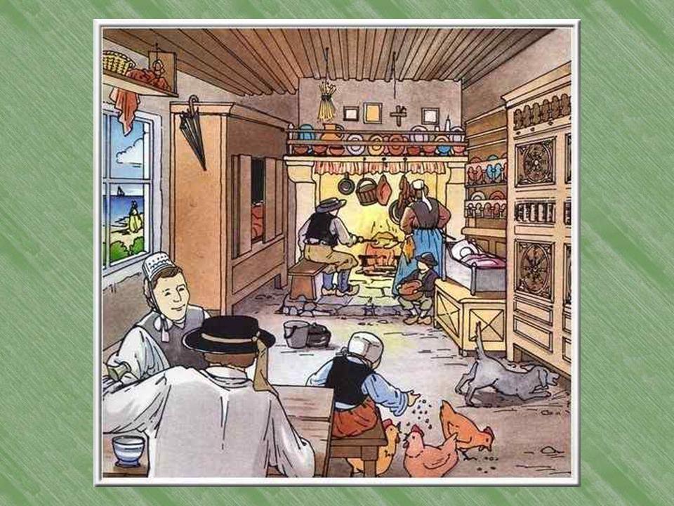 Intérieur breton. Dans lunique pièce, la famille a mis toutes ses richesses dans quelques très beaux meubles; pas de chaises mais des bancs. On verse