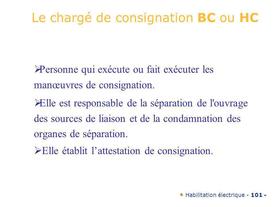 Habilitation électrique - 101 - Le chargé de consignation BC ou HC Personne qui exécute ou fait exécuter les manœuvres de consignation. Elle est respo