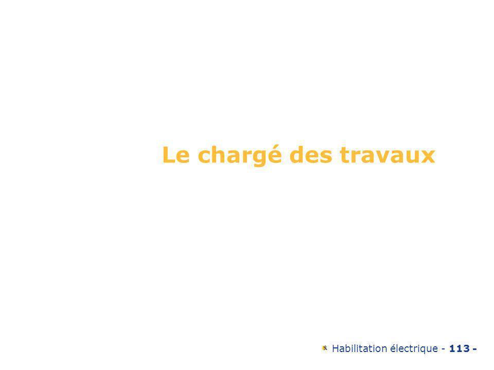 Habilitation électrique - 113 - Le chargé des travaux