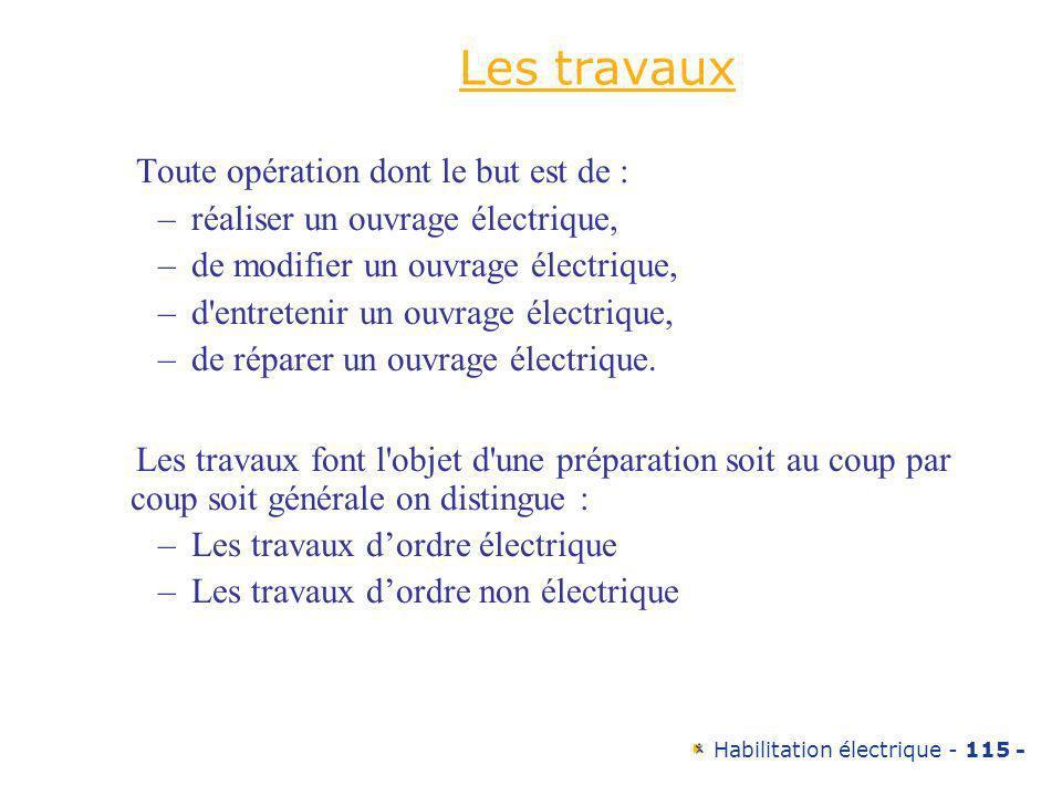 Habilitation électrique - 115 - Les travaux Toute opération dont le but est de : –réaliser un ouvrage électrique, –de modifier un ouvrage électrique,