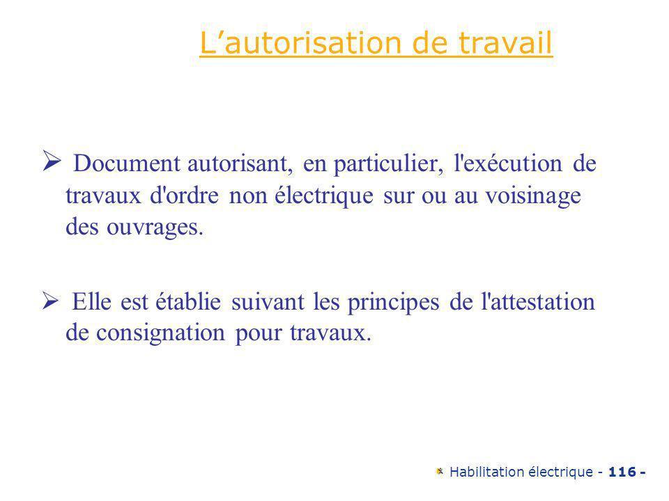 Habilitation électrique - 116 - Lautorisation de travail Document autorisant, en particulier, l'exécution de travaux d'ordre non électrique sur ou au