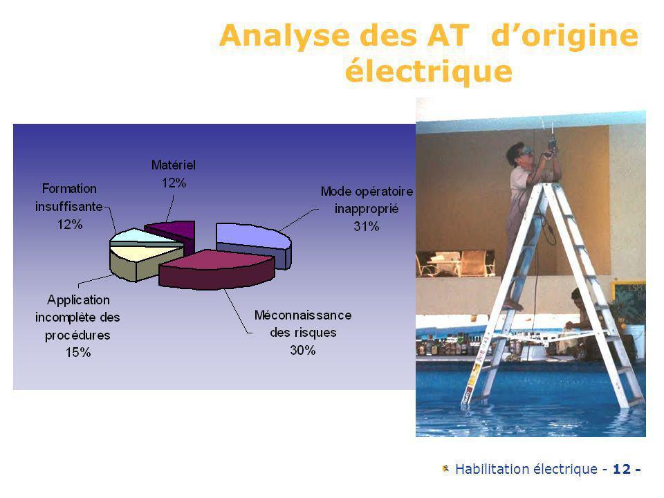 Habilitation électrique - 12 - Analyse des AT dorigine électrique Mode opératoire inapproprié:31% Méconnaissance des risques: 30% Application incomplè