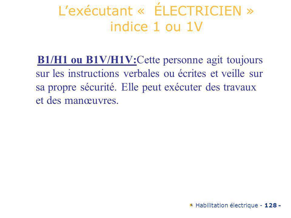 Habilitation électrique - 128 - B1/H1 ou B1V/H1V:Cette personne agit toujours sur les instructions verbales ou écrites et veille sur sa propre sécurit