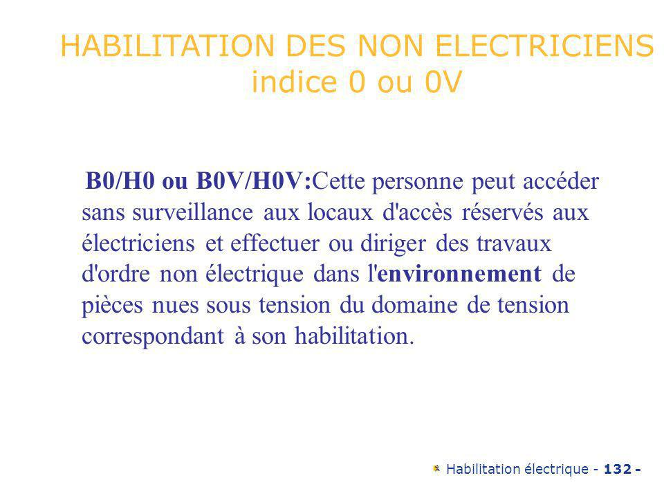 Habilitation électrique - 132 - B0/H0 ou B0V/H0V:Cette personne peut accéder sans surveillance aux locaux d'accès réservés aux électriciens et effectu