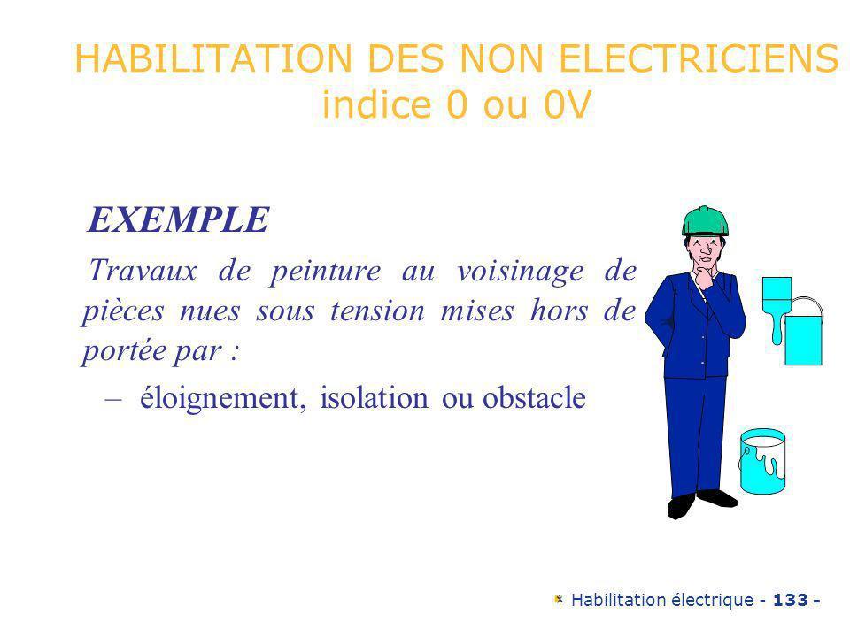 Habilitation électrique - 133 - HABILITATION DES NON ELECTRICIENS indice 0 ou 0V EXEMPLE Travaux de peinture au voisinage de pièces nues sous tension