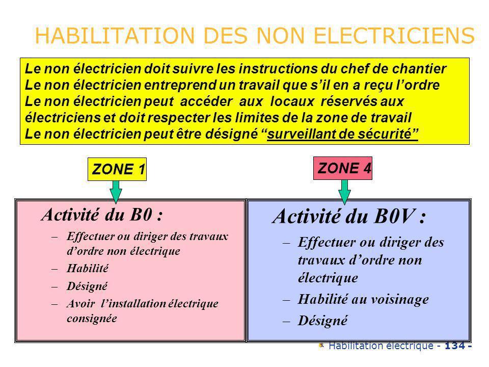 Habilitation électrique - 134 - HABILITATION DES NON ELECTRICIENS Activité du B0 : –Effectuer ou diriger des travaux dordre non électrique –Habilité –