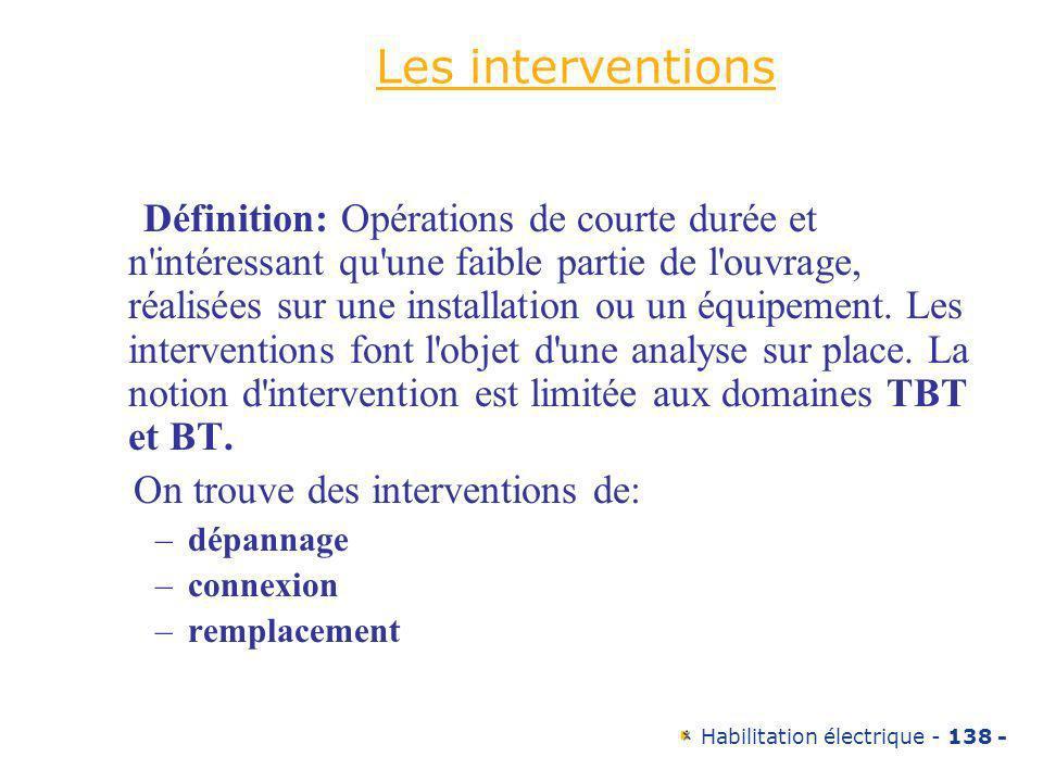Habilitation électrique - 138 - Les interventions Définition: Opérations de courte durée et n'intéressant qu'une faible partie de l'ouvrage, réalisées