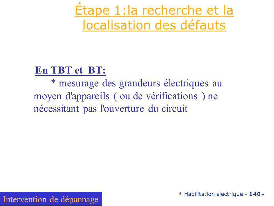Habilitation électrique - 140 - Étape 1:la recherche et la localisation des défauts En TBT et BT: * mesurage des grandeurs électriques au moyen d'appa