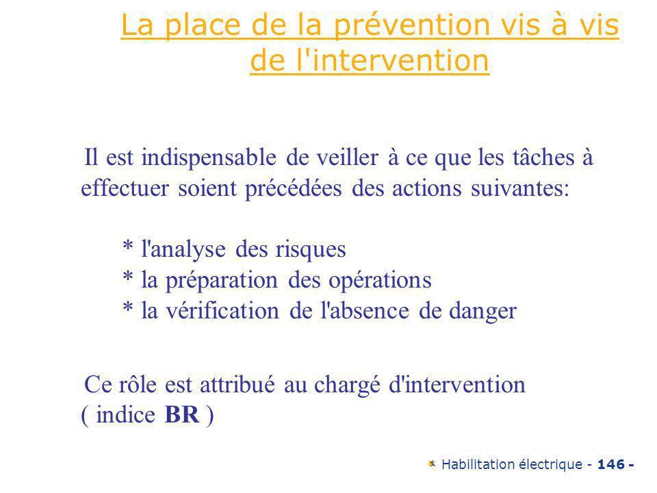 Habilitation électrique - 146 - La place de la prévention vis à vis de l'intervention Il est indispensable de veiller à ce que les tâches à effectuer