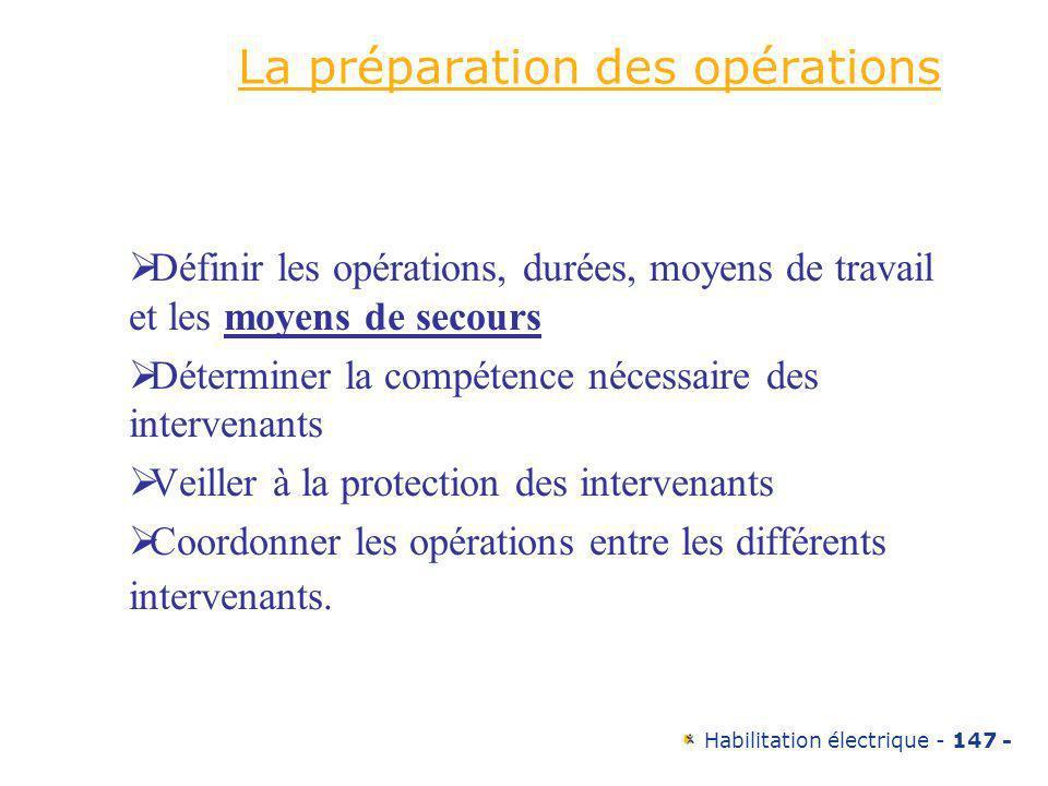 Habilitation électrique - 147 - La préparation des opérations Définir les opérations, durées, moyens de travail et les moyens de secours Déterminer la