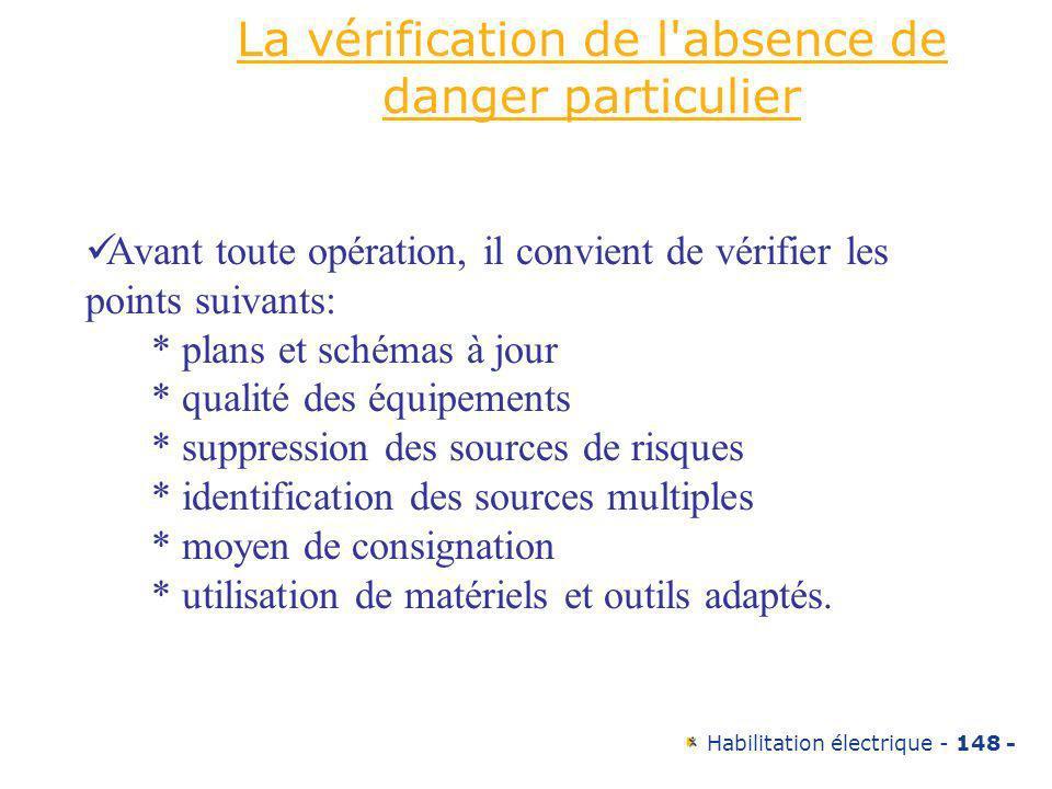 Habilitation électrique - 148 - La vérification de l'absence de danger particulier Avant toute opération, il convient de vérifier les points suivants: