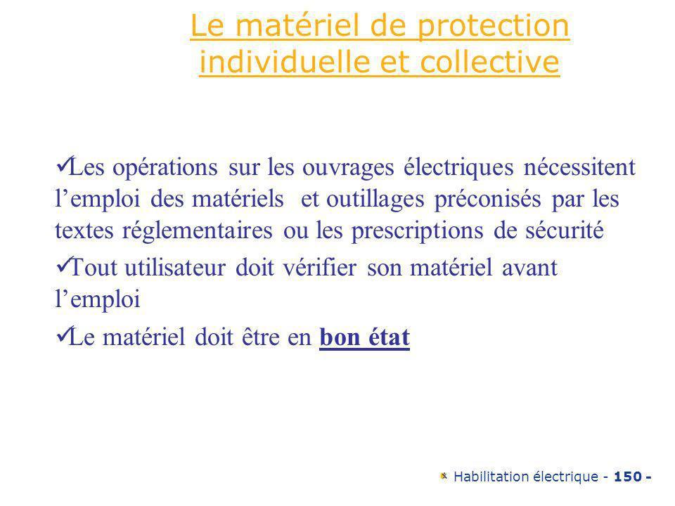 Habilitation électrique - 150 - Le matériel de protection individuelle et collective Les opérations sur les ouvrages électriques nécessitent lemploi d