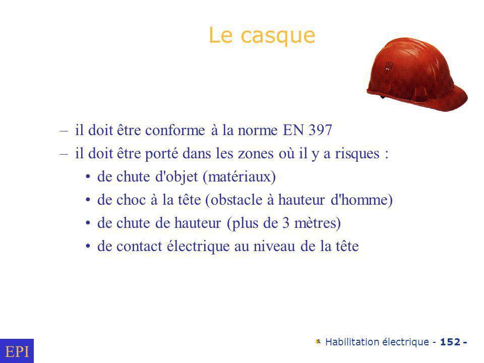 Habilitation électrique - 152 - Le casque –il doit être conforme à la norme EN 397 –il doit être porté dans les zones où il y a risques : de chute d'o