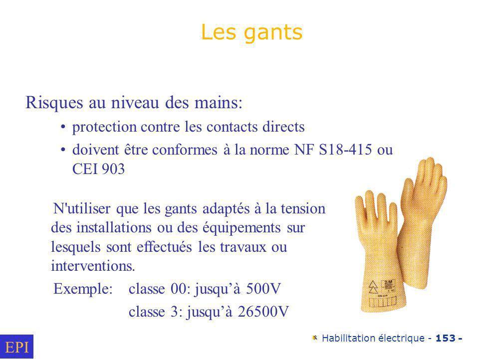 Habilitation électrique - 153 - Risques au niveau des mains: protection contre les contacts directs doivent être conformes à la norme NF S18-415 ou CE