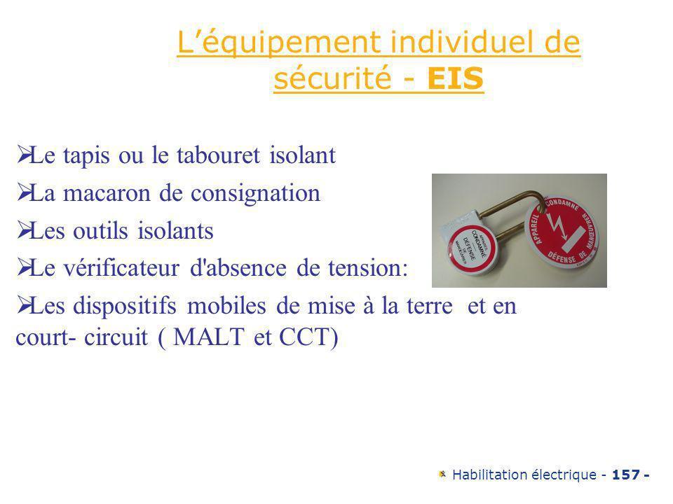 Habilitation électrique - 157 - Léquipement individuel de sécurité - EIS Le tapis ou le tabouret isolant La macaron de consignation Les outils isolant