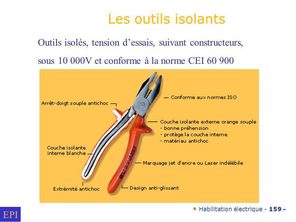 Habilitation électrique - 159 - Outils isolés, tension dessais, suivant constructeurs, sous 10 000V et conforme à la norme CEI 60 900 Les outils isola