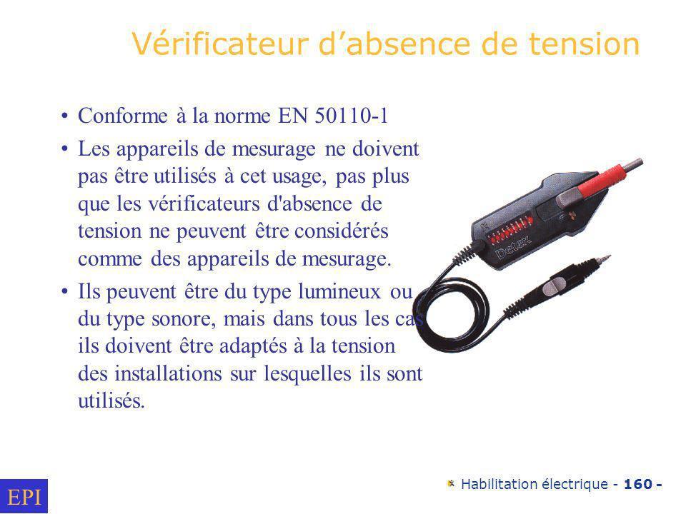 Habilitation électrique - 160 - Vérificateur dabsence de tension Conforme à la norme EN 50110-1 Les appareils de mesurage ne doivent pas être utilisés
