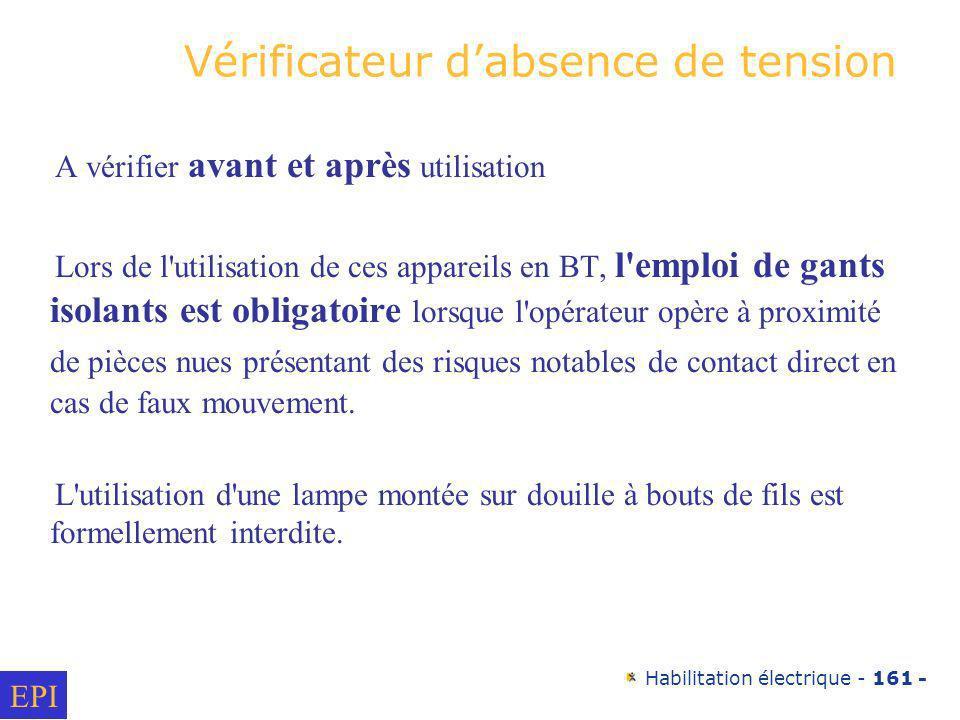 Habilitation électrique - 161 - Vérificateur dabsence de tension A vérifier avant et après utilisation Lors de l'utilisation de ces appareils en BT, l
