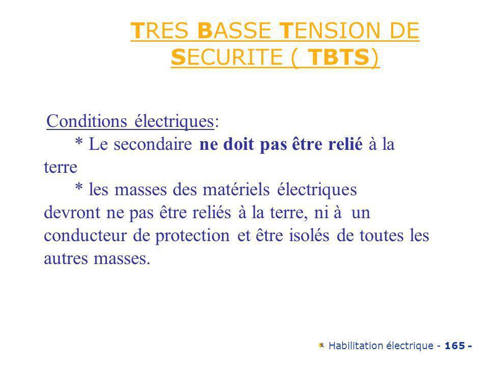 Habilitation électrique - 165 - TRES BASSE TENSION DE SECURITE ( TBTS) Conditions électriques: * Le secondaire ne doit pas être relié à la terre * les