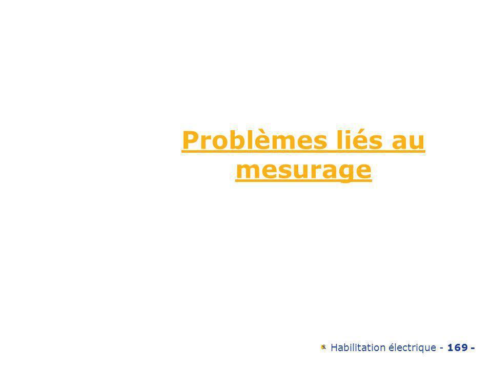 Habilitation électrique - 169 - Problèmes liés au mesurage