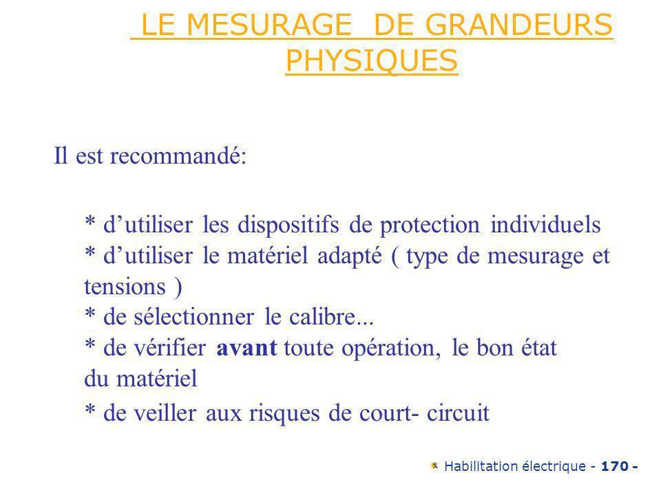 Habilitation électrique - 170 - LE MESURAGE DE GRANDEURS PHYSIQUES Il est recommandé: * dutiliser les dispositifs de protection individuels * dutilise