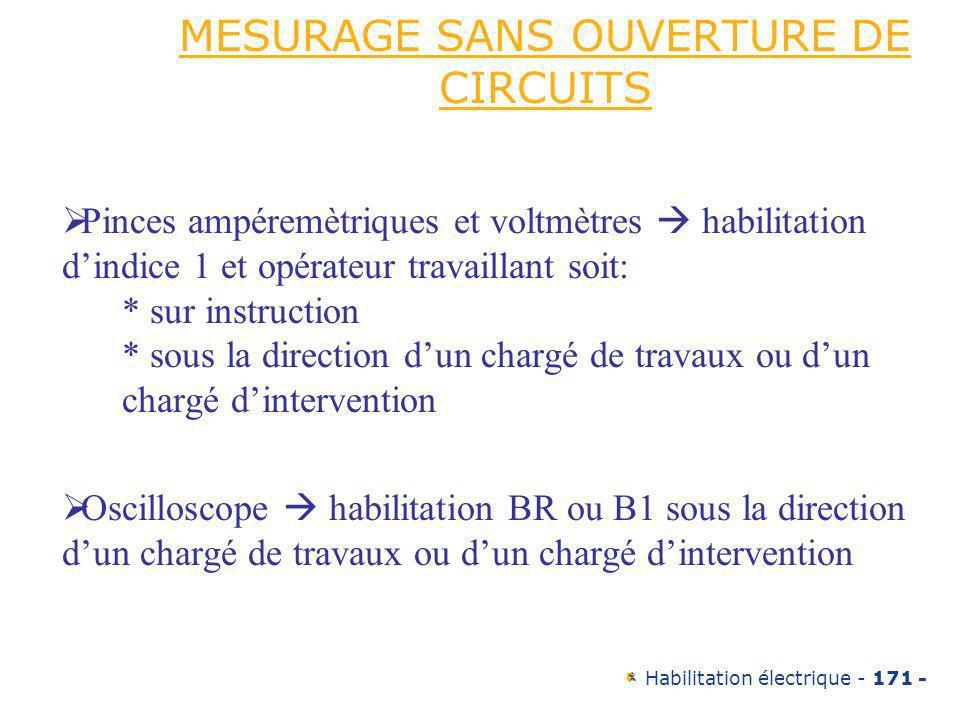 Habilitation électrique - 171 - MESURAGE SANS OUVERTURE DE CIRCUITS Pinces ampéremètriques et voltmètres habilitation dindice 1 et opérateur travailla