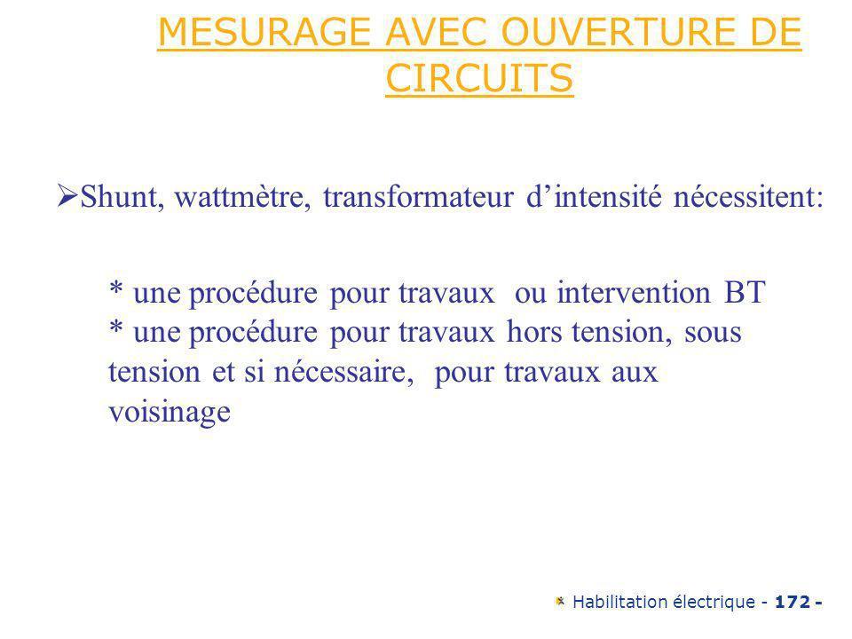 Habilitation électrique - 172 - MESURAGE AVEC OUVERTURE DE CIRCUITS Shunt, wattmètre, transformateur dintensité nécessitent: * une procédure pour trav