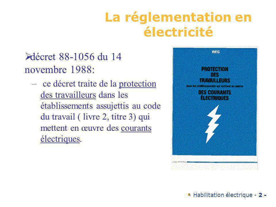 Habilitation électrique - 2 - La réglementation en électricité décret 88-1056 du 14 novembre 1988: – ce décret traite de la protection des travailleur