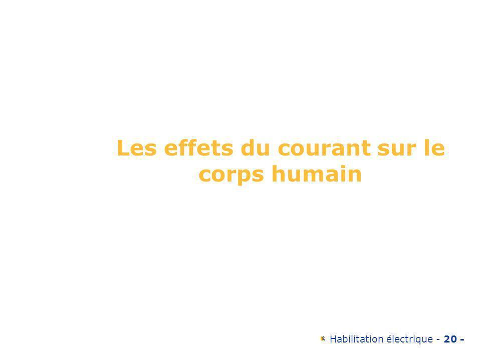 Habilitation électrique - 20 - Les effets du courant sur le corps humain