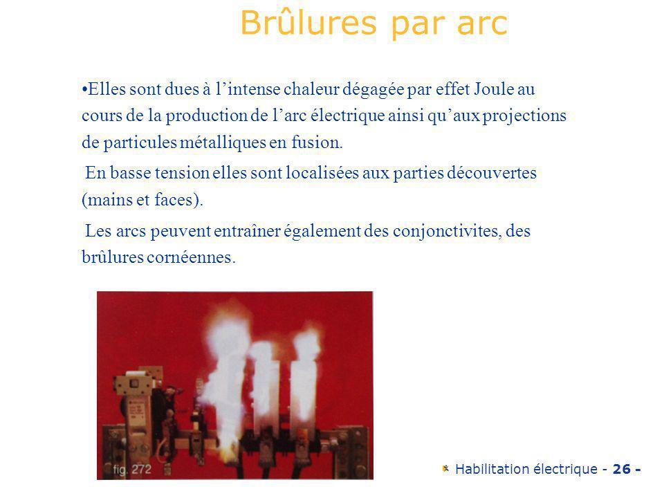 Habilitation électrique - 26 - Elles sont dues à lintense chaleur dégagée par effet Joule au cours de la production de larc électrique ainsi quaux pro