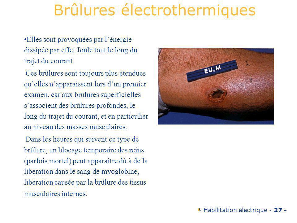 Habilitation électrique - 27 - Elles sont provoquées par lénergie dissipée par effet Joule tout le long du trajet du courant. Ces brûlures sont toujou