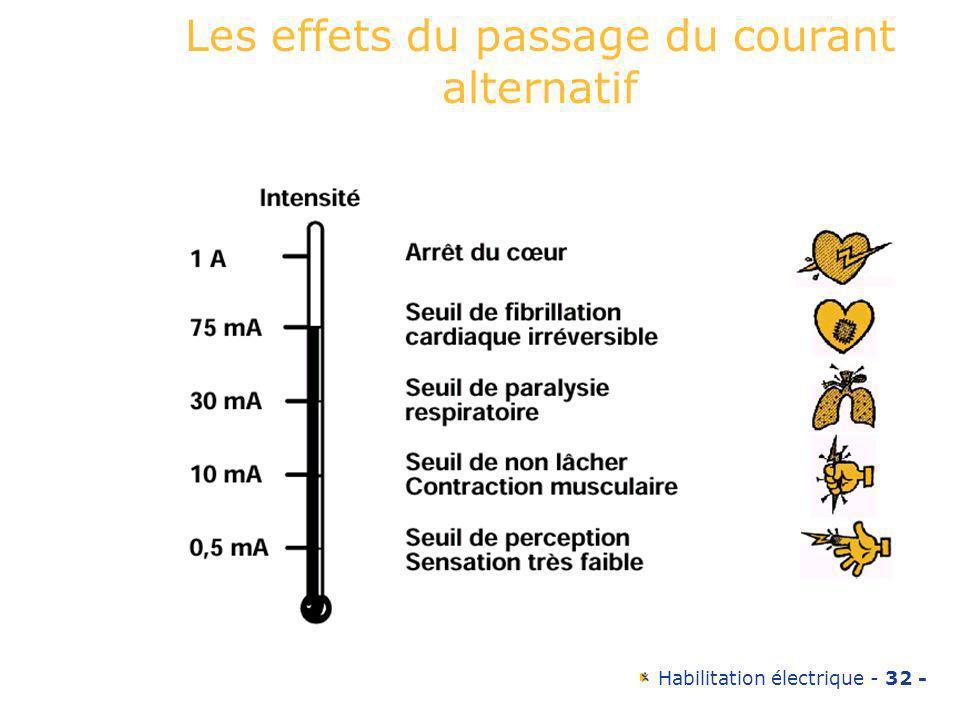 Habilitation électrique - 32 - Les effets du passage du courant alternatif