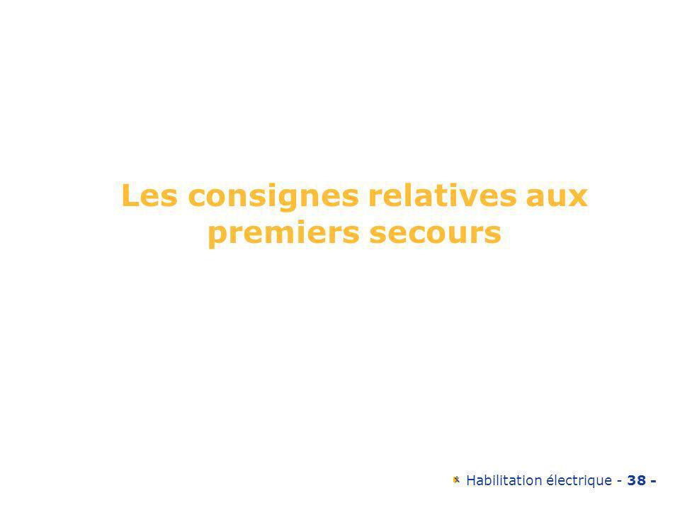 Habilitation électrique - 38 - Les consignes relatives aux premiers secours