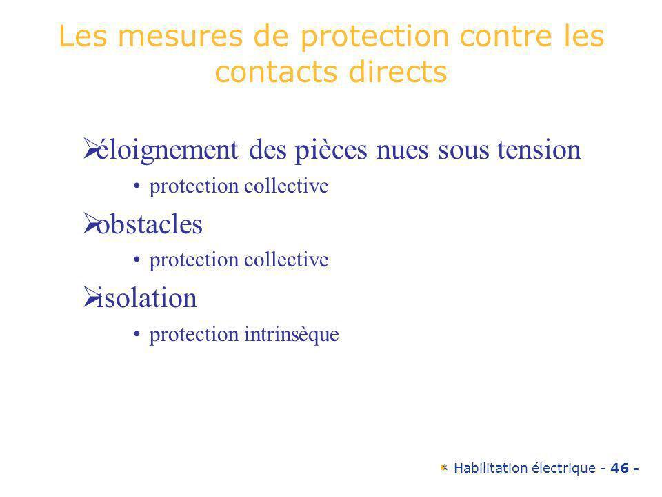 Habilitation électrique - 46 - Les mesures de protection contre les contacts directs éloignement des pièces nues sous tension protection collective ob