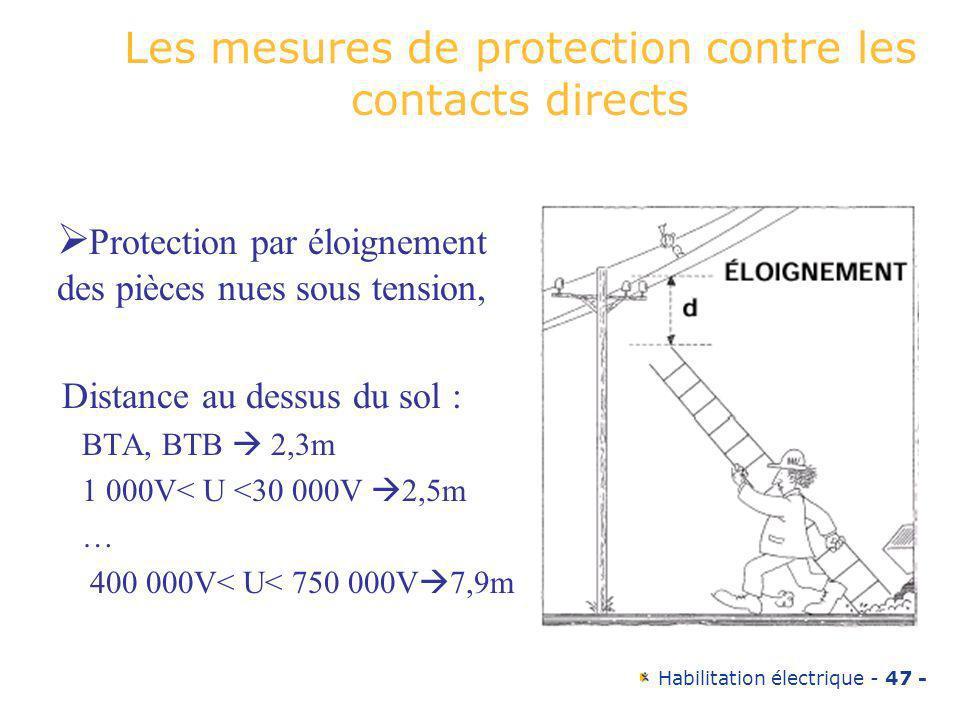 Habilitation électrique - 47 - Les mesures de protection contre les contacts directs Protection par éloignement des pièces nues sous tension, Distance
