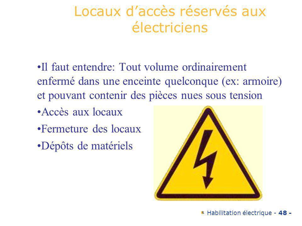 Habilitation électrique - 48 - Locaux daccès réservés aux électriciens Il faut entendre: Tout volume ordinairement enfermé dans une enceinte quelconqu