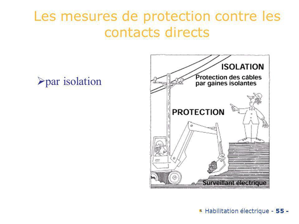 Habilitation électrique - 55 - Les mesures de protection contre les contacts directs par isolation