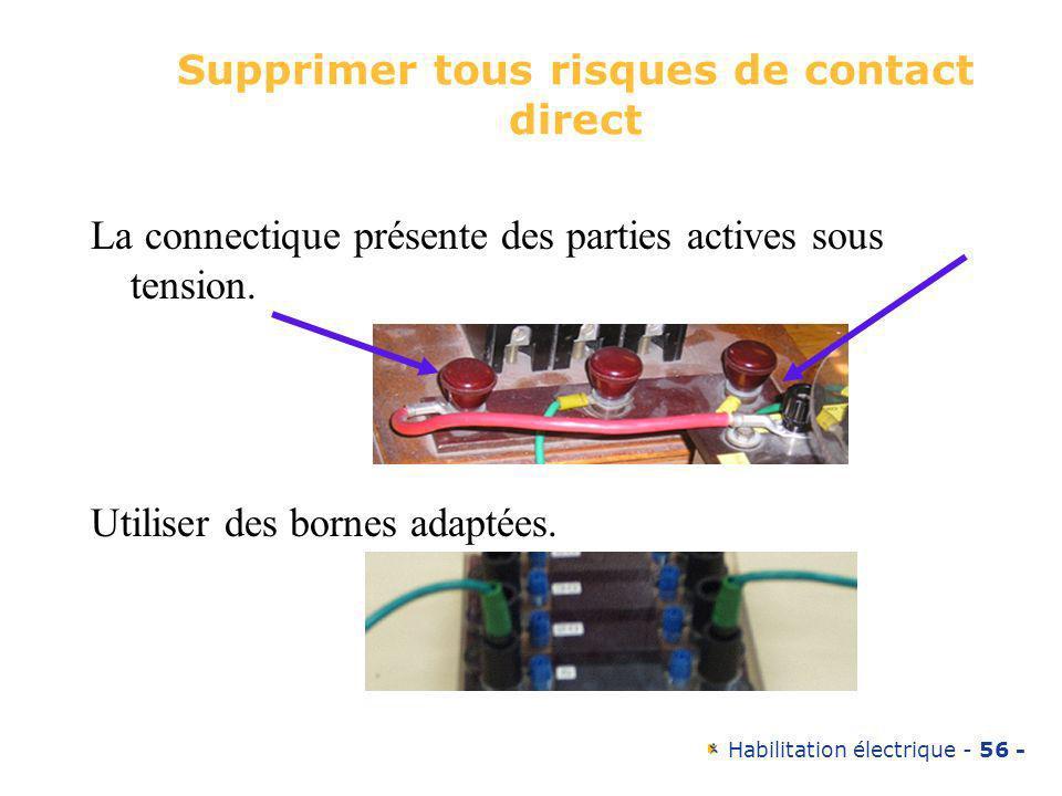 Habilitation électrique - 56 - Supprimer tous risques de contact direct La connectique présente des parties actives sous tension. Utiliser des bornes