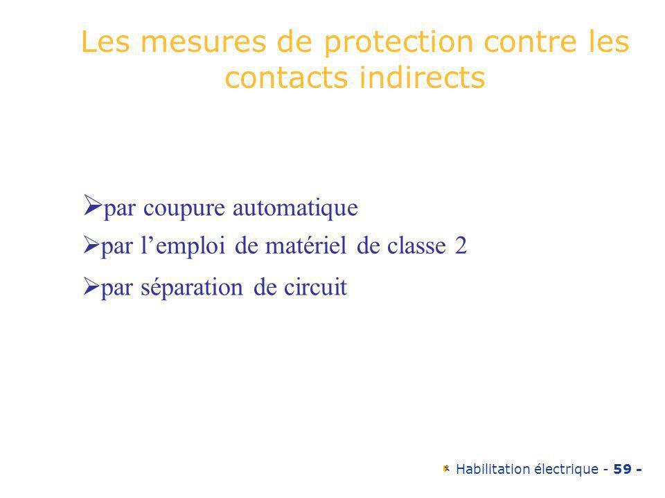 Habilitation électrique - 59 - Les mesures de protection contre les contacts indirects par coupure automatique par lemploi de matériel de classe 2 par