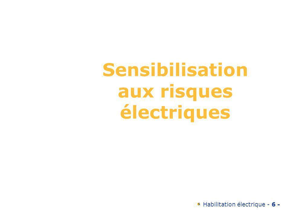 Habilitation électrique - 57 - Degrés de protection de lappareillage Contact direct avec une pièce sous tension: –Pour symboliser les degrés de protection procurés par les enveloppes de matériel électrique, on utilise les lettres IP suivies de 2 chiffres.