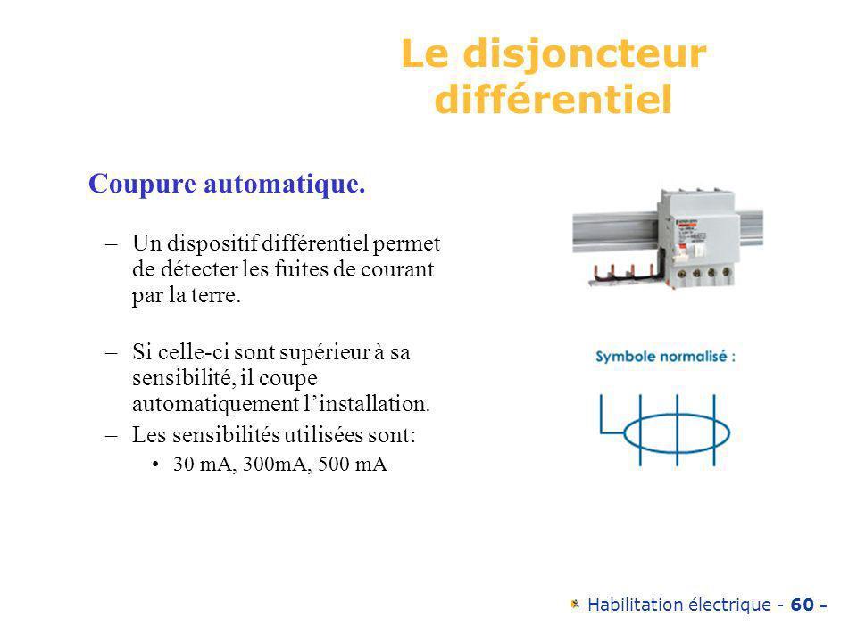 Habilitation électrique - 60 - Le disjoncteur différentiel Coupure automatique. –Un dispositif différentiel permet de détecter les fuites de courant p