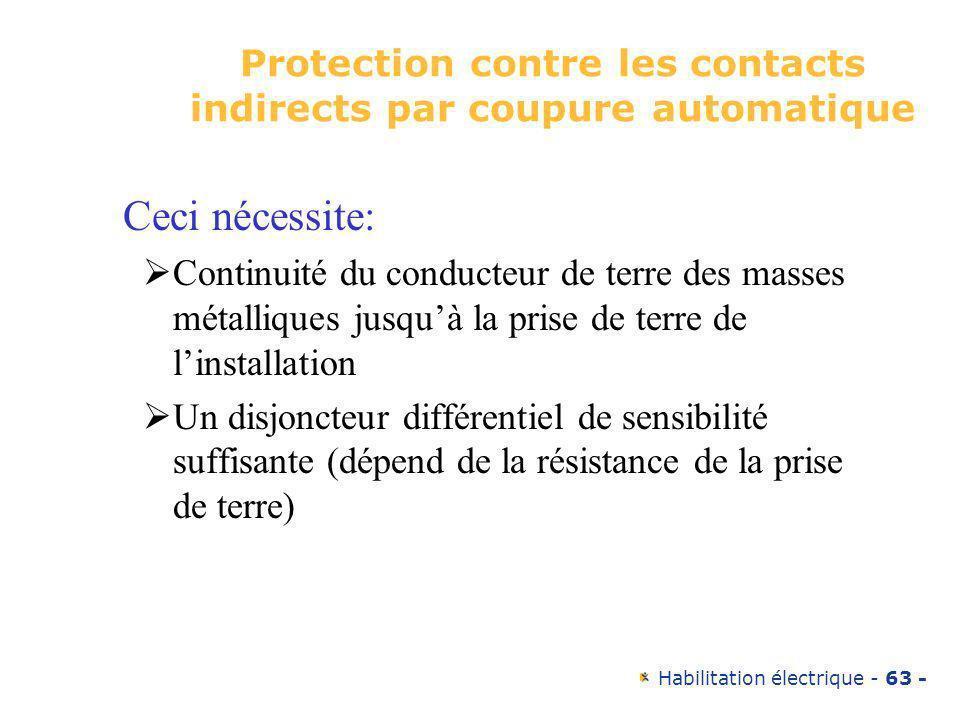 Habilitation électrique - 63 - Protection contre les contacts indirects par coupure automatique Ceci nécessite: Continuité du conducteur de terre des