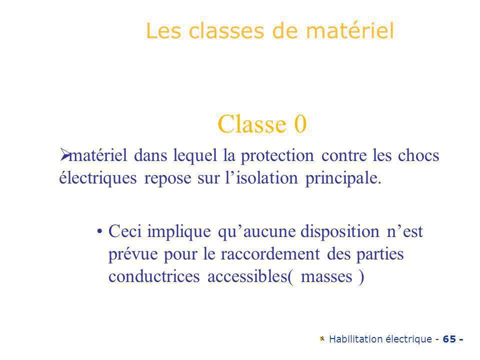 Habilitation électrique - 65 - Les classes de matériel Classe 0 matériel dans lequel la protection contre les chocs électriques repose sur lisolation