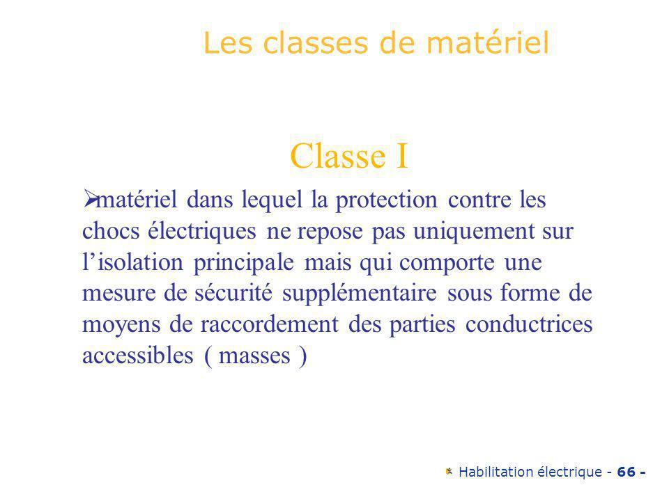 Habilitation électrique - 66 - Les classes de matériel Classe I matériel dans lequel la protection contre les chocs électriques ne repose pas uniqueme