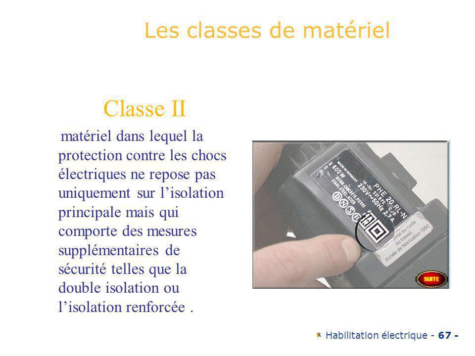 Habilitation électrique - 67 - Les classes de matériel Classe II matériel dans lequel la protection contre les chocs électriques ne repose pas uniquem