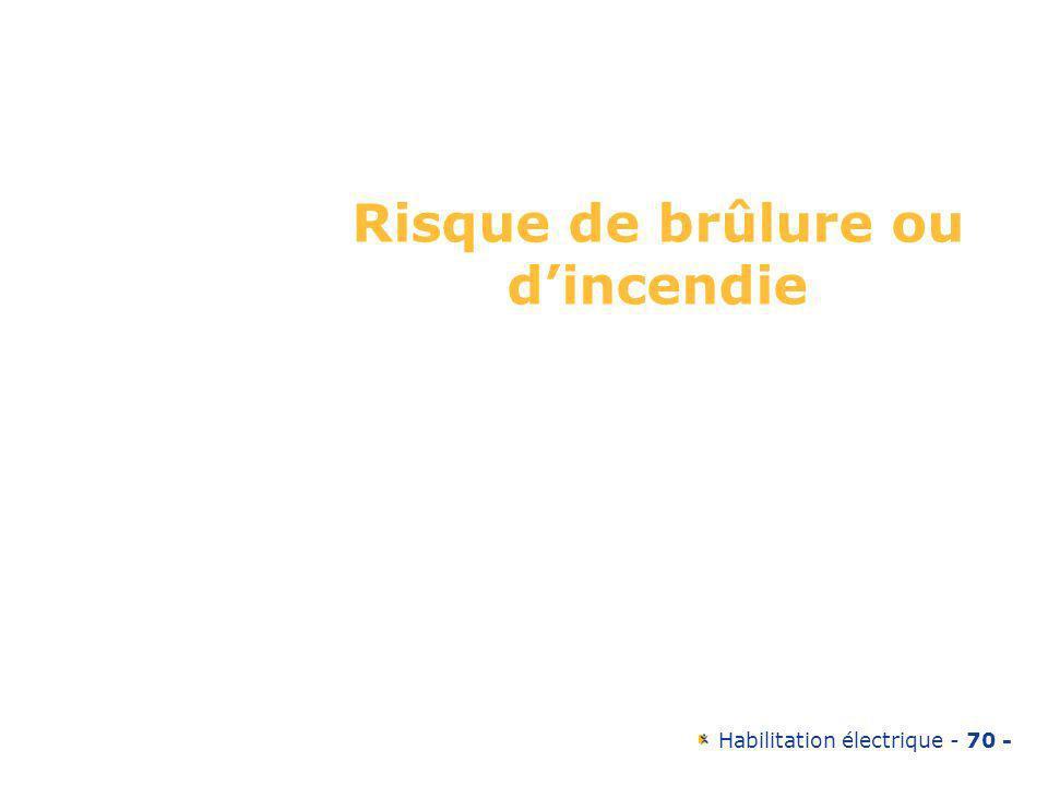 Habilitation électrique - 70 - Risque de brûlure ou dincendie