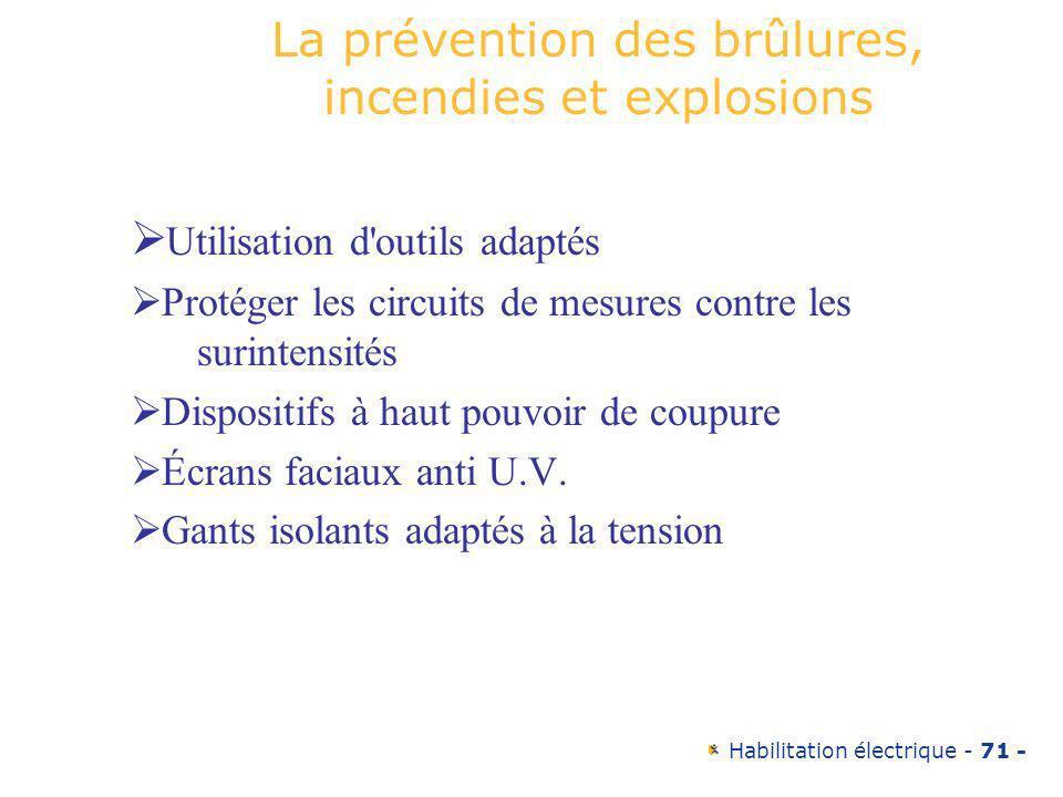 Habilitation électrique - 71 - La prévention des brûlures, incendies et explosions Utilisation d'outils adaptés Protéger les circuits de mesures contr