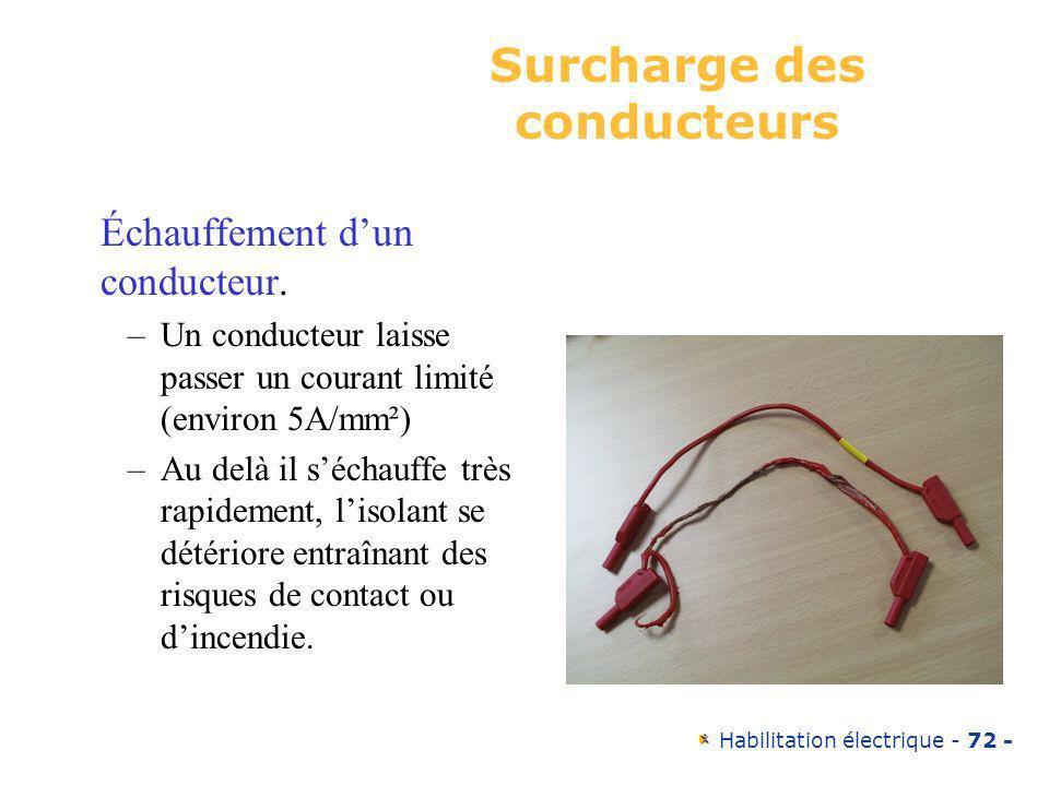 Habilitation électrique - 72 - Surcharge des conducteurs Échauffement dun conducteur. –Un conducteur laisse passer un courant limité (environ 5A/mm²)