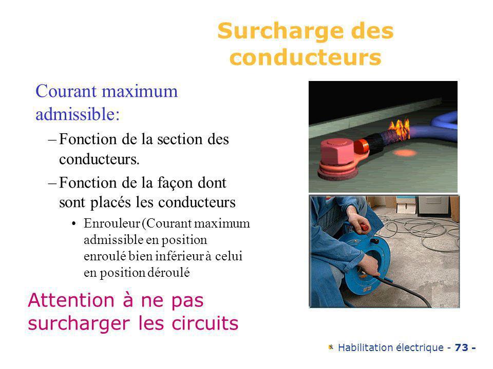Habilitation électrique - 73 - Surcharge des conducteurs Courant maximum admissible: –Fonction de la section des conducteurs. –Fonction de la façon do